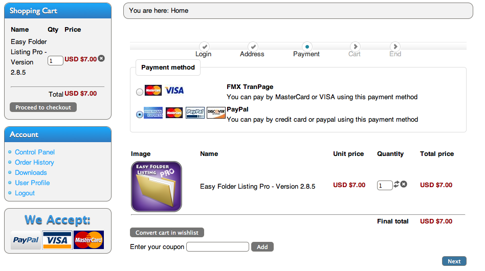 Step 2 Payment Method